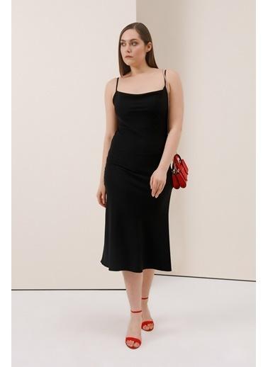 Gusto Degaje Yakalı Elbise - Beyaz Degaje Yakalı Elbise - Beyaz Siyah